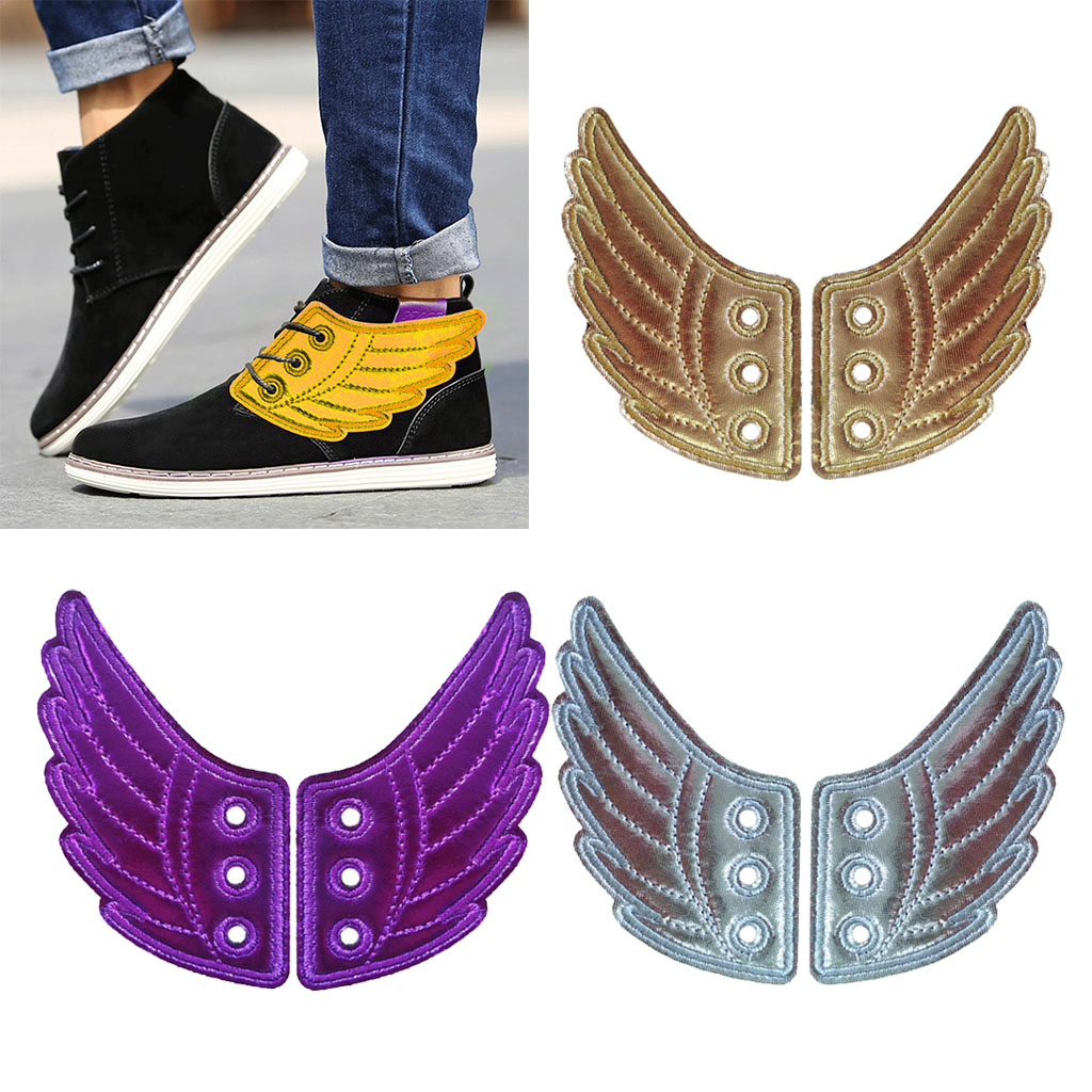 2Pcs Fashion Punk Angel Wings Shoes Sneaker Accessories Decorations