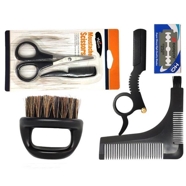 Men's Shaving Template Shaving Brush Beard Styling Comb Grooming Plate Manual Vintage Blade Holder Razor Beard Cleaning Brush 1