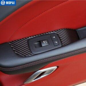 Image 5 - MOPAI רכב מדבקות עבור המתמודד 2015 + סיבי פחמן רכב חלון כפתור קישוט כיסוי אביזרי עבור דודג צ לנג ר 2015 +