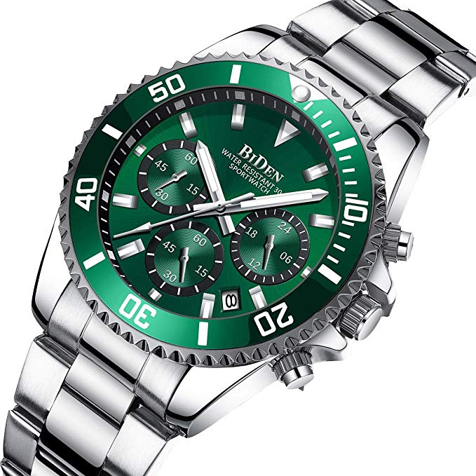 BIDEN Fashion Mens Watches Top Brand Luxury Waterproof Colck Stainless Steel Men Quartz Watch Gents Sport Wristwatch