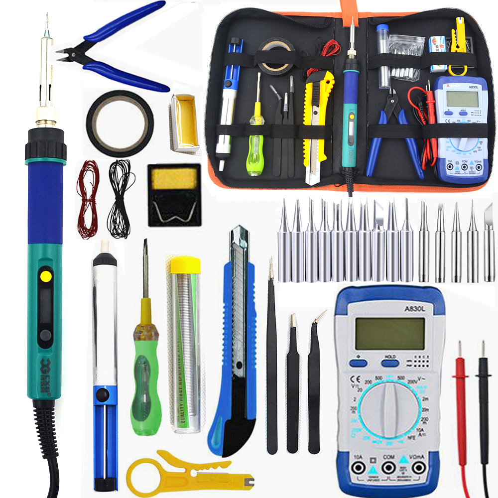 CXG936d 60W Temperature Electric Soldering Iron Kit Soldering Iron Kit With Multimeter Desoldeirng Pump Welding Tool 110v 220v
