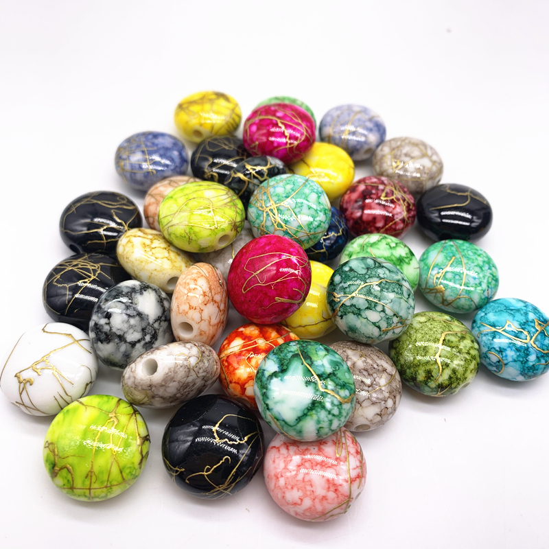 10pcs/lot 18mm Bracelet Accessories Acrylic Beads Loose Beads Fit Europe Beads For Jewelry Making DIY Accessories