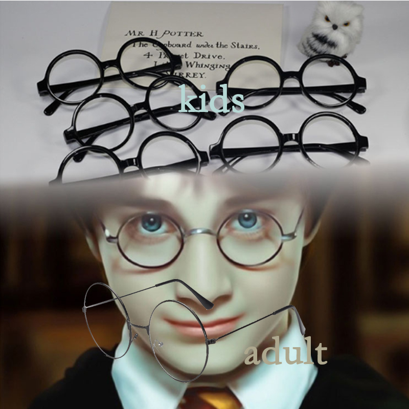 Action HP7 Harri Cosplay Glasses Toys Black Kids Adults Glasses Frame Halloween Party Gifts Toys Movie HP Magic Show Accessories