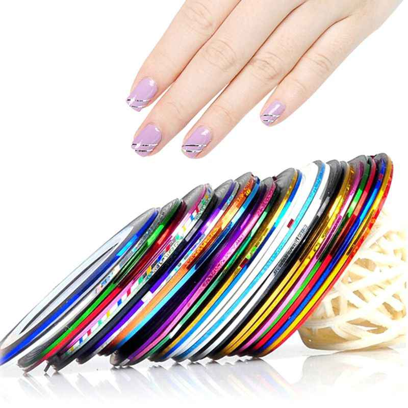 1 Roll Nail Art 20M Lijm Striping Tape Lijn Decals Sticker Decoratie