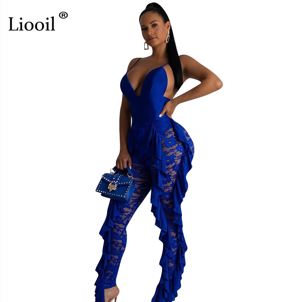 Liooil Lace Backless Sexy Sheer Tight Jumpsuit Clubwear 2019 V Neck See Through Party Blue Rompers Womens Jumpsuits Long Pants