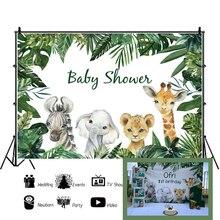 Foto Achtergronden Safari Dieren Tropische Baby Shower Party Poster Fotografie Achtergronden Vinyl Photocall Voor Foto Baby Studio