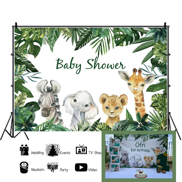 Photo Backdrops Safari Animals Tropical Baby Shower Party Poster Photography Backgrounds Vinyl Photocall For Photo Baby Studio