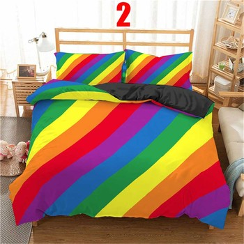 WOSTAR 3d Rainbow Stripe Printed Comforter Bedding Sets Modern Geometric Twin Queen Size Polyester Duvet Cover For home decor 7