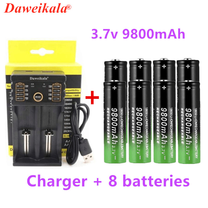 New 18650 <font><b>battery</b></font> 3.7V 9800mAh rechargeable lion <font><b>battery</b></font> for Led flash light <font><b>battery</b></font> 18650 <font><b>battery</b></font> Wholesale + USB charger image