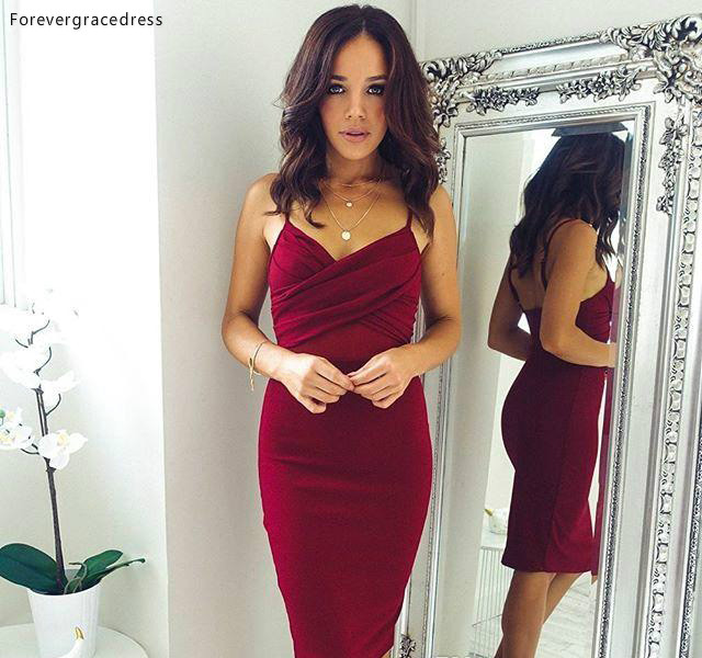 Short Burgundy Cocktail Dress Cheap Keen Length Backless Formal Holiday Club Wear Homecoming Party Dress Plus Size Custom Make