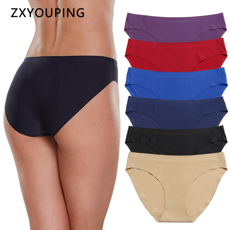 Solid Ice Silk Seamless Panties For Women Underwear Sexy Briefs Low-Rise Lingerie Female Full Back XS-L US Size Large