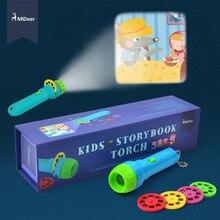 Mideer mini projector tocha, brinquedos infantis educativos, luz para crianças, desenvolver brincadeiras de sono, conjunto de histórias