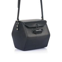 MZORANGE Genuine Leather Women Handbag Simple Flap Fashion Lock Hexagonal Prism Shoulder Bags Cowhide Small Crossbody Bag