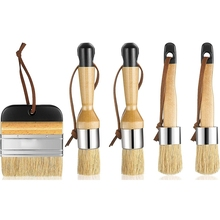 Retail 5 Pcs Chalk and Wax Paint Brushes Bristle Stencil Brushes Painting Brushes, Including Flat Pointed and Round Chalked