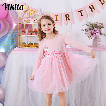 VIKITA Girls Dress Long Sleeve Kids Princess Dresses Children Unicorn Vestidos 2020 Girls Dresses Autumn Kids Dress for Girl vikita girls unicorn dress princess tutu dress for girls children birthday party licorne vestidos kids autumn winter dresses