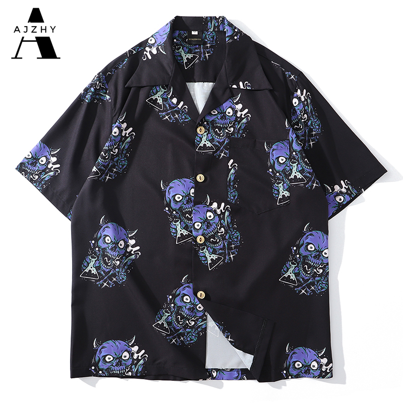 Hawaiian Shirt Men Hip Hop Streetwear Devil Head Full Print Harajuku Beach Shirt Black Thin Summer Shirts Short Sleeve Tops 2020