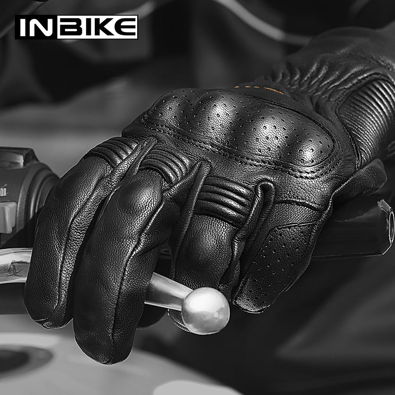 INBIKE Winter Genuine Leather Motorcycle Gloves Thermal Windproof  Motorbike Gloves Protective Gear Guantes Moto