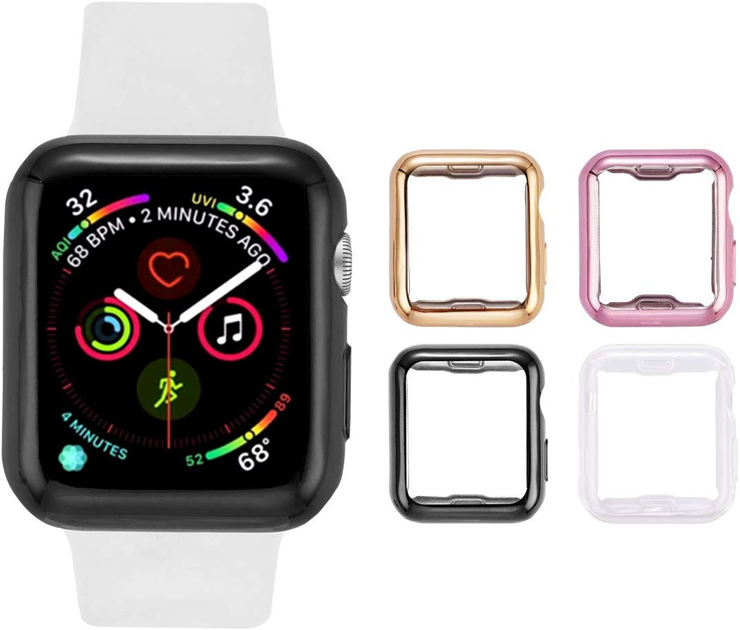 TPU all-inclusive protective shell Case For Apple Watch Series 5 <font><b>4</b></font> <font><b>3</b></font> <font><b>2</b></font> 1 40mm 44mm Luxury Cover Shell 42mm Perfect Match Bumper image