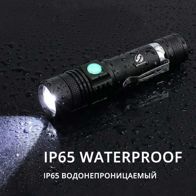 Ultra parlak LED el feneri XP-L V6 LED lamba yuvası su geçirmez Torch zumlanabilir 4 aydınlatma modları çok fonksiyonlu USB şarj