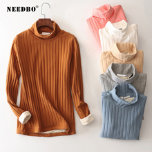 Turtleneck Sweater Women High Elastic Solid Thick Knit Oversize Pullover Long Sleevee Sweat