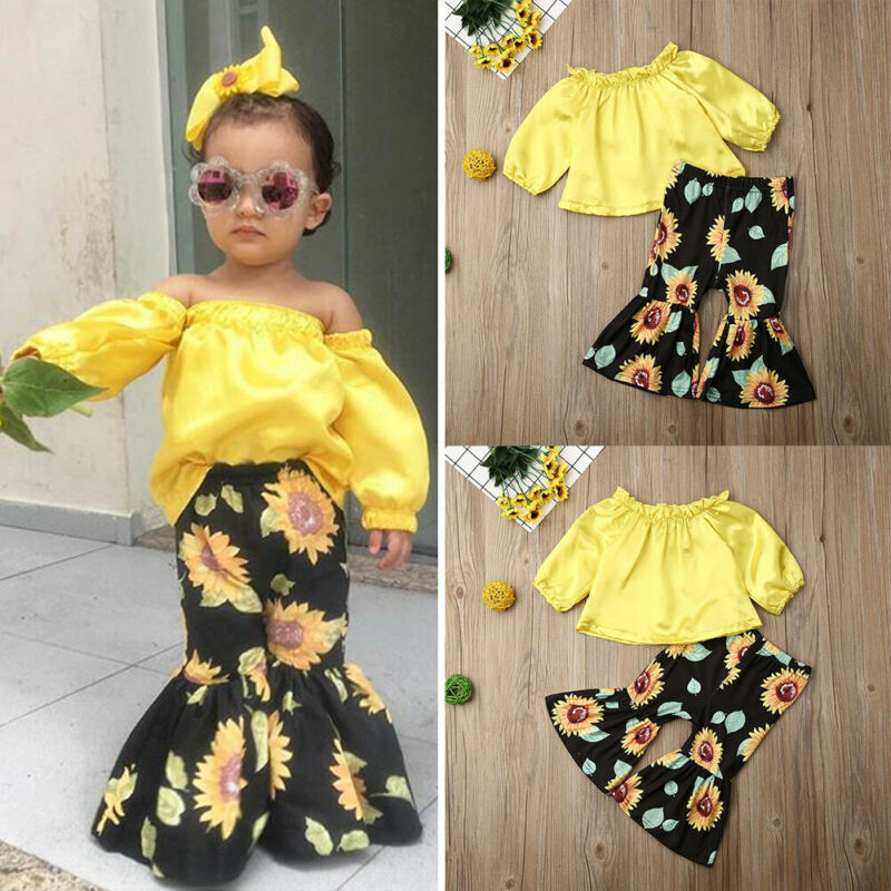 Cute Infant Baby Girl Kid Flower Top Sunflower Flare Pants Summer Clothes Set