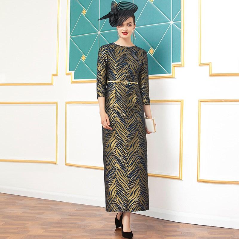 Одежда размера плюс 2020 весенние Стильные женские вечерние длинные вечерние платья с круглым вырезом и золотыми полосками до щиколотки 2XL 3XL - 3