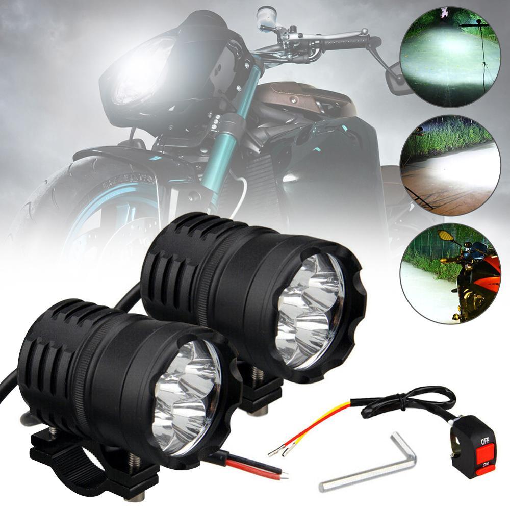 1 Pcs 60W Motorcycle LED Headlight Fog Spot Light Auxiliary lamps  amp  Switch  3-Modes Univsersal