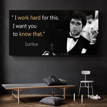 Pintura de la lona Scarface película afiche con citas extraordinario arte de...