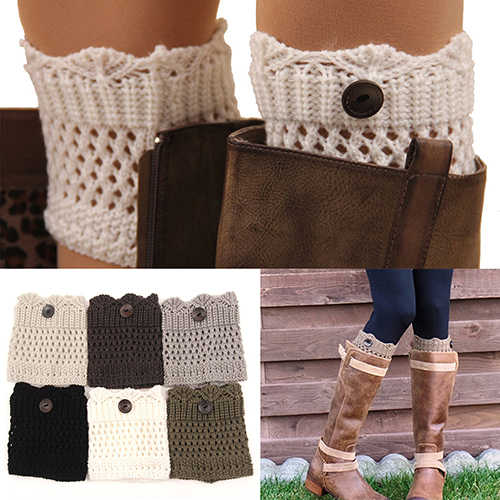 Caliente venta mujer invierno calentadores de pierna Acrylon lana Crochet Hollow Knit arranque calcetines Toppers puños