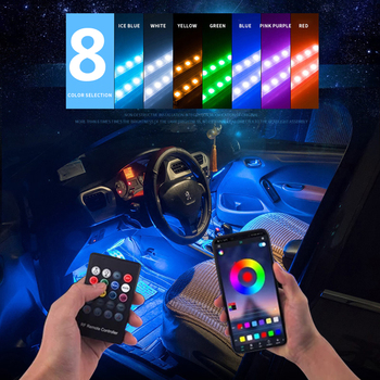 72 LED RGB Car Interior Atmosphere Lights Foot Light Ambient Lamp Wireless Remote Music Control Multiple Modes Automotive car rgb usb app led 5v 18smd foot lamp ambient light voice control music lamp phone control lamp 5050 18 x 4 smd