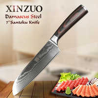 "XINZUO 7"" Santoku Knives Handmade Japan Damascus Stainless Steel Kitchen Knife Brand High Quality Cook Knives Pakkawood Handle"