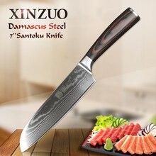 Ножи сантоку XINZUO 7 дюймов, японские кухонные ножи ручной работы из дамасской нержавеющей стали, фирменные высококачественные кухонные ножи с рукояткой Pakkawood