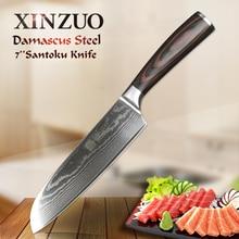 Xinzuo facas artesanais de 7 pol. santoku, aço inoxidável damasco japonês, alta qualidade, facas para cozinhar, cabo paquistanês