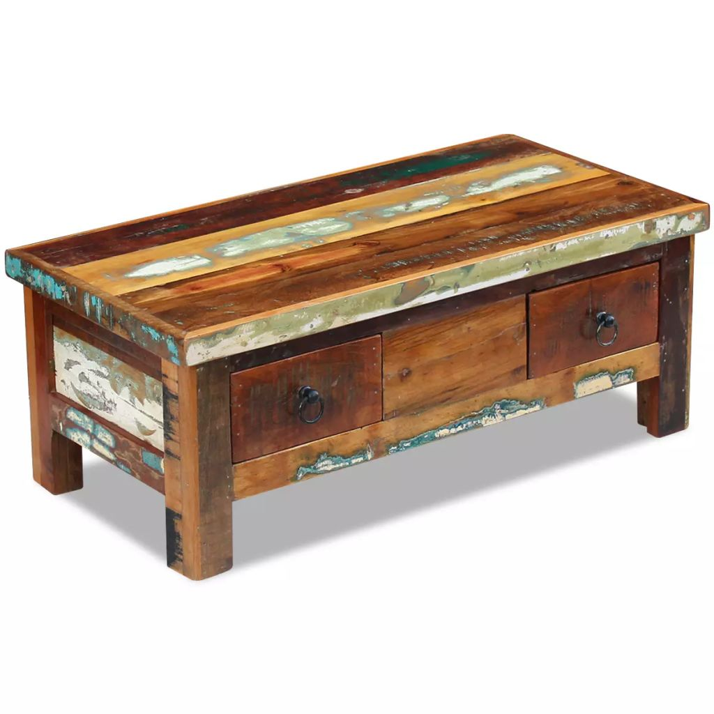 VidaXL Coffee Table Drawers Solid Reclaimed Wood 90x45x35 Cm