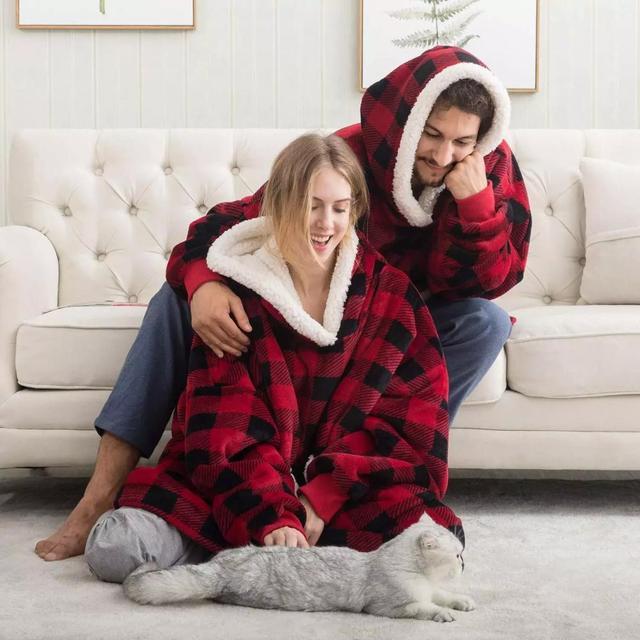 Blanket with Sleeves Women Oversized Hoodie Fleece Warm Hoodies Sweatshirts Giant TV Blanket Women Hoody Robe Casaco Feminino 4