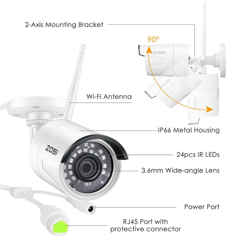 ZOSI 8CH 1080P HD WiFi NVR 2CH / 4CH 2.0MP IR zunanji vremensko - Varnost in zaščita - Fotografija 2