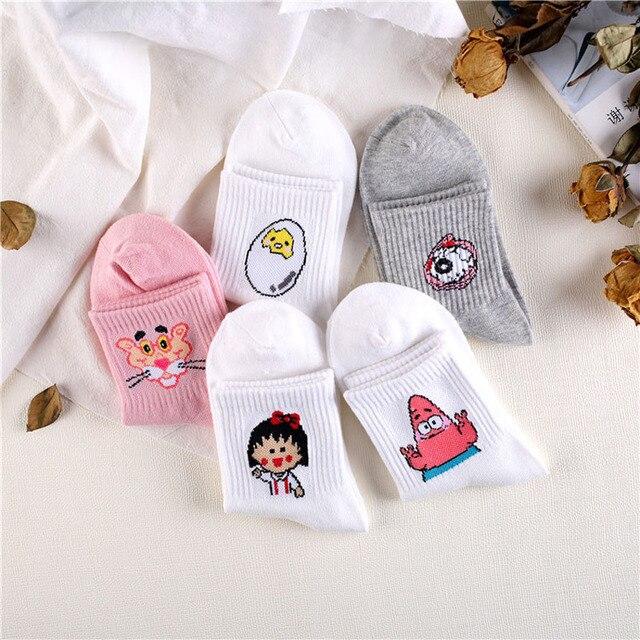 Japonés Kawaii mujer animales de dibujos animados calcetines lindo huevo de conejo Pantera larga de algodón Calcetines Mujer damas y leche Rosa Blanco Sox