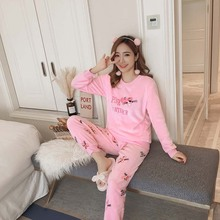 2019 Autumn and Winter Women Pyjamas Sets Thick Warm Coral Velvet Suit Flannel Long Sleeve Female Cartoon Animal Pants Sleepwear