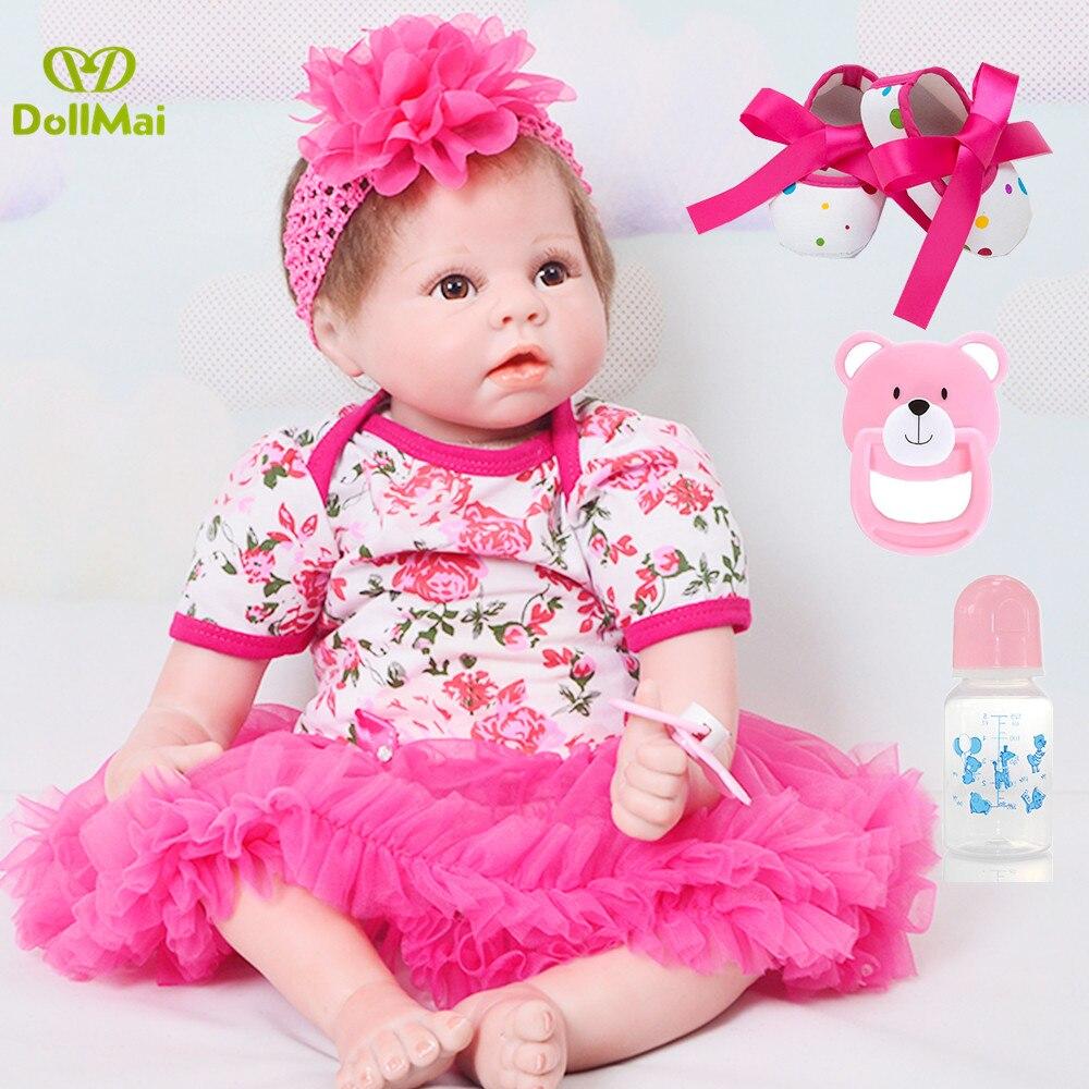 NPK recién nacido Reborn Baby Dolls silicona Linda muñeca suave para niñas princesa chico moda Bebes Reborn muñecas l. o l 55cm
