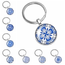 HOT! 2019 New Handmade Chinese Style White Porcelain Kaleidoscope Series Glass Convex Round Keychain Popular Jewelry Gift