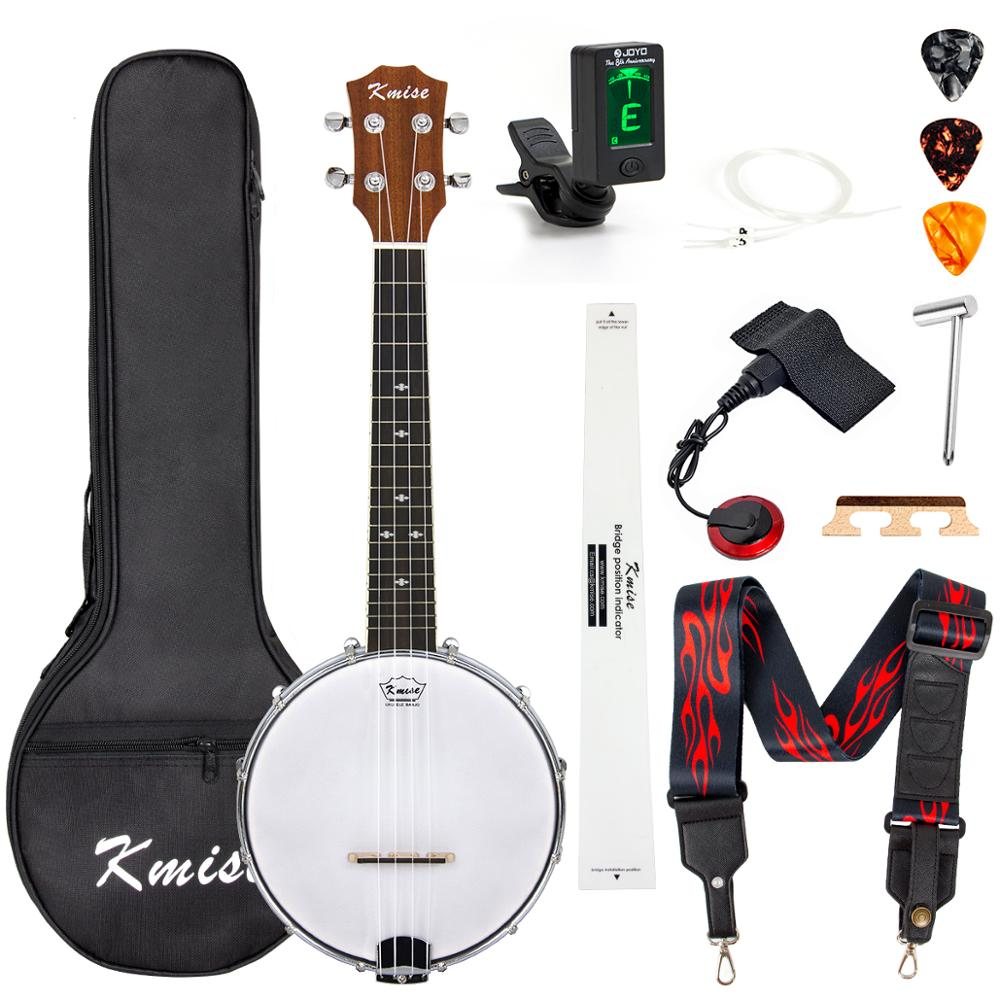Kmise Banjolele Concert 23 Inch Banjo Ukulele Ukelele Banjo Kit 4 String Maple Okoume GCEA With Full Accessories