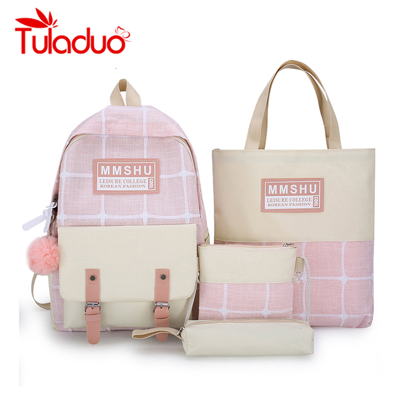 4Pcs/set Women School Backpacks Schoolbag For Teenagers Girls Student Book Bag Fur Ball Boys Plaid Bolsas Mochilas Sac A Dos