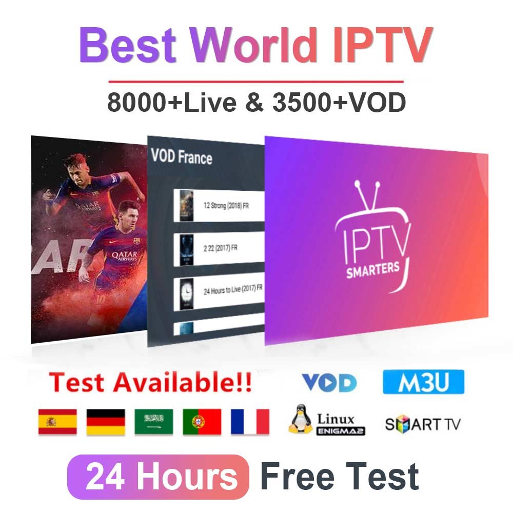 Stable Premium 1 Year Abonnement IPTV France Spain With 4K HEVC VOD Movies For Code M3U Smart IPTV Smarters Pro Android TV Box