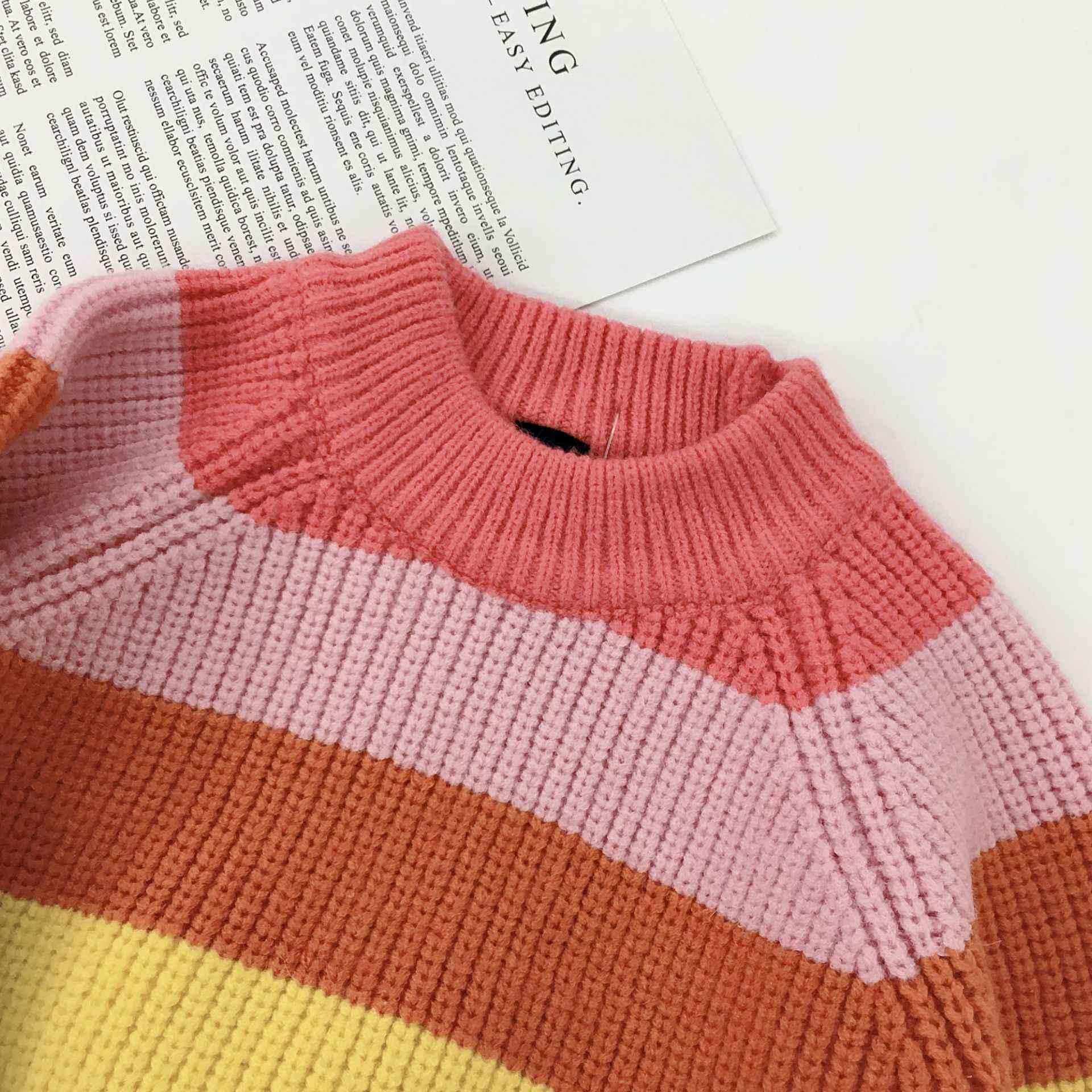 새로운 2019 겨울 어린이 스웨터 레인보우 스트라이프 소녀와 소년 kint 스웨터 가을 아기 따뜻한 양모 탑스 아이 옷