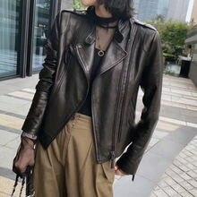 Женская новая модная куртка из натуральной овечьей кожи g39