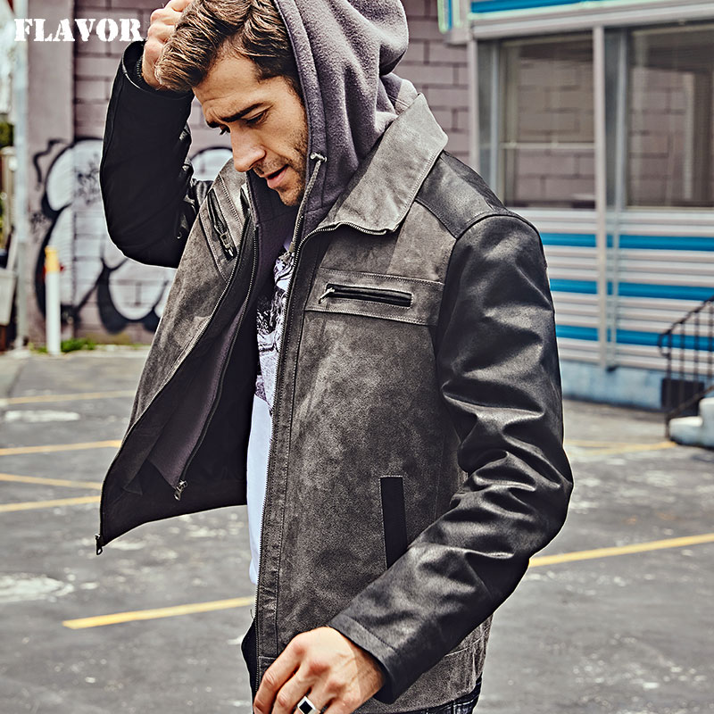 FLAVOR New Men's Genuine Leather Jacket With Detachable Hood Men Real Leather Motorcycle Coat