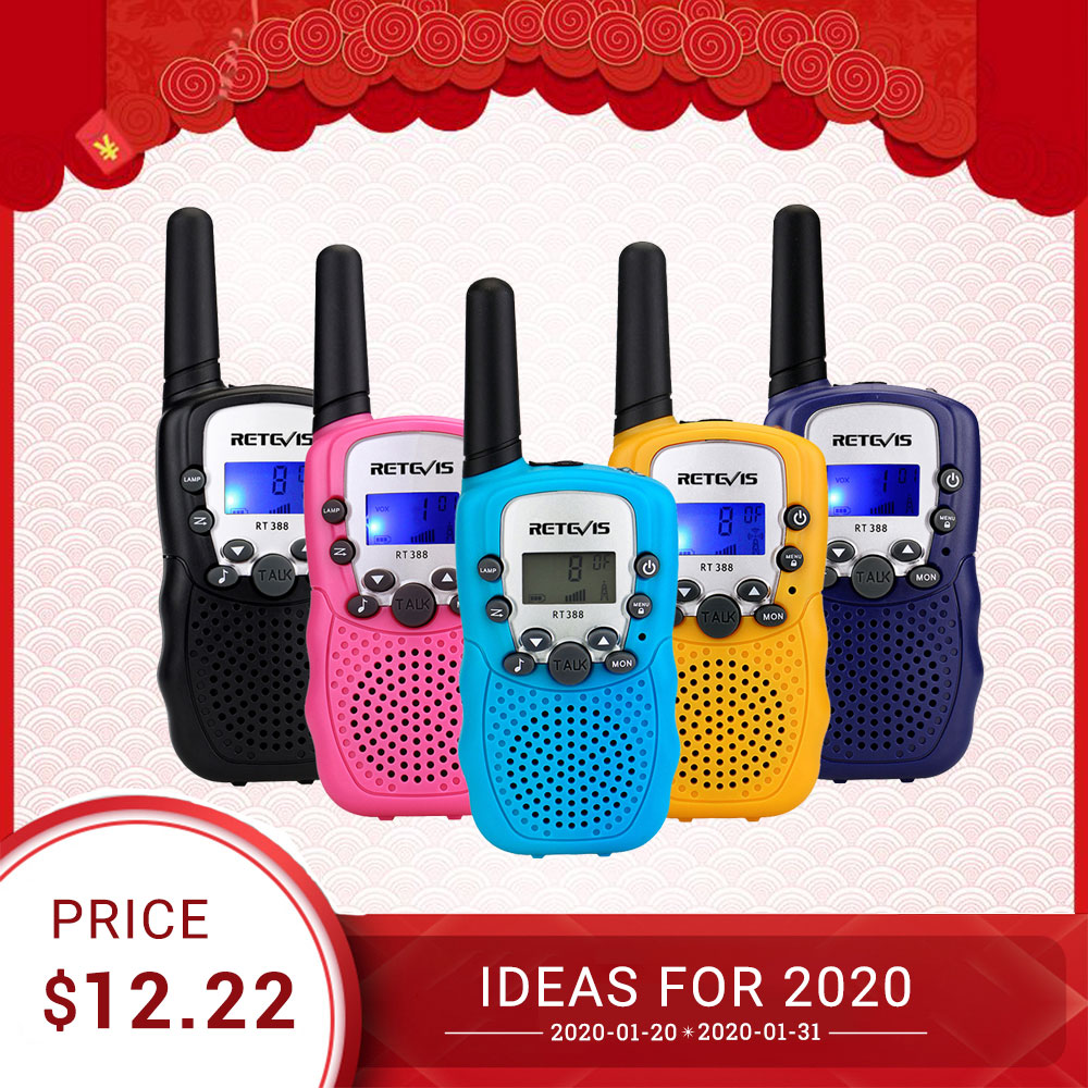 RETEVIS RT388 Walkie Talkie Kids 2pcs Two-way Radio PMR PMR446 Radio Comunicador VOX Flashlight Five Colors Toy Walkie Talkie