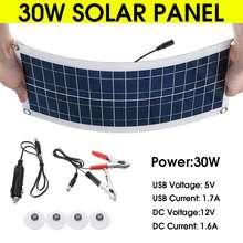 30W 12V Portable Solar Panel 5V USB Monocrystalline silicon for Car Yacht RV Charging Outdoor Emergency Lights