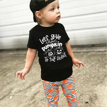 Let's Give Them Pumpkin To Talk about Letters Print Baby Girls Halloween Tops Tee Shirts Boys Short Sleeve T Shirt Party Wear(China)