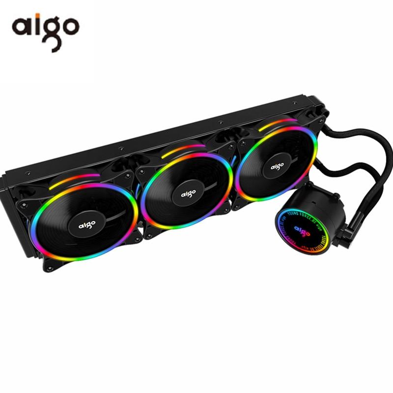Aigo pc caso 120 240 360 mm ventilador de água líquida refrigeração cpu cooler rgb dissipador calor integrado radiador lga 2011/1151/1155/am3 +/am4 amd